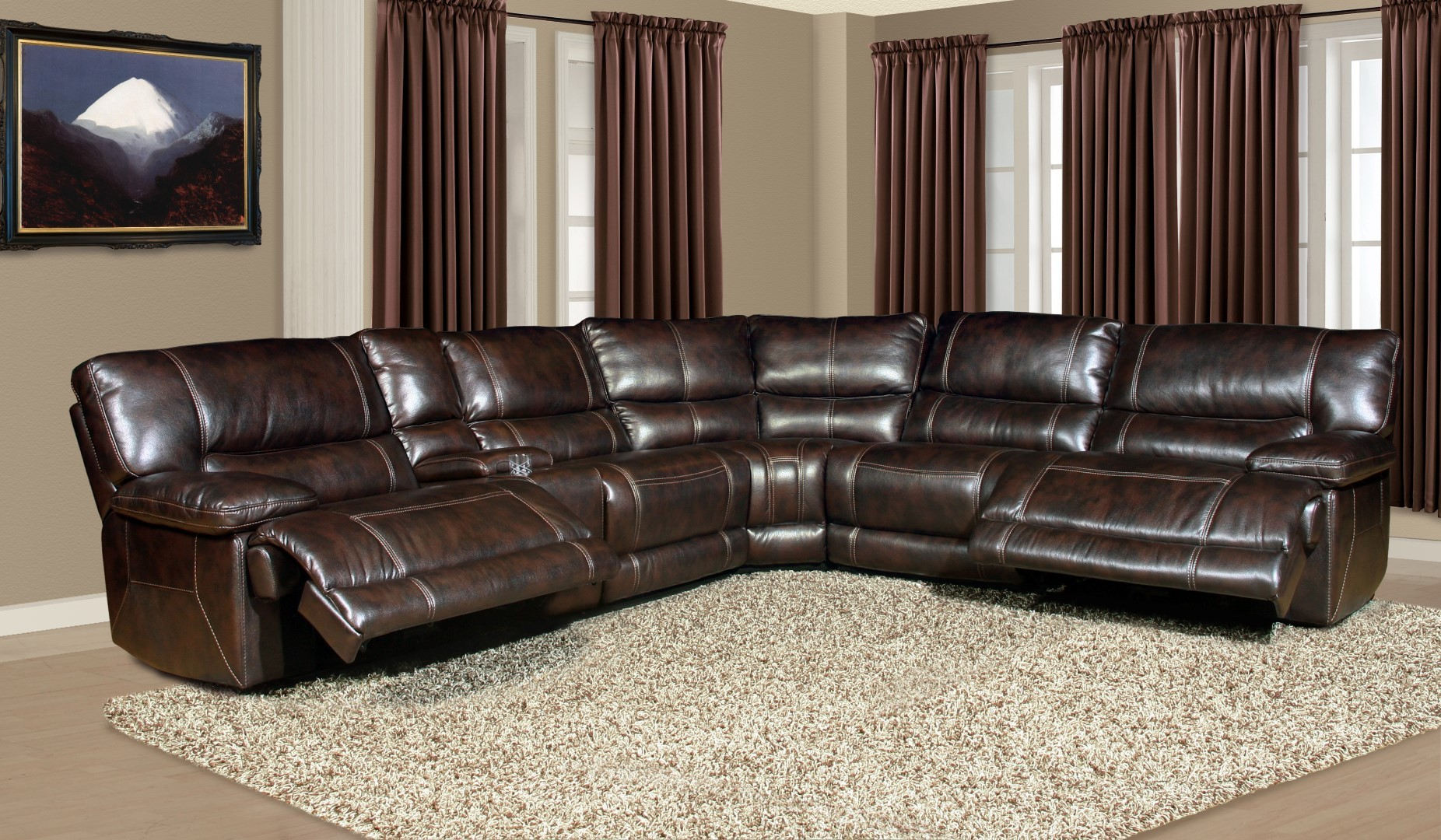 Gentil PARKER LIVING Pegasus Sectional (Synthetic Leather U2013 Nutmeg)