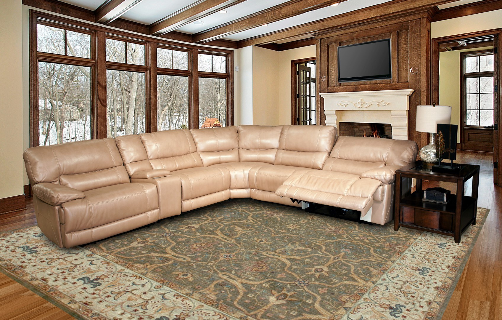 High Quality PARKER LIVING Pegasus Sectional (Synthetic Leather U2013 Sand)